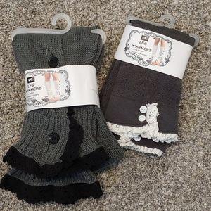 2 pair of leg warmers
